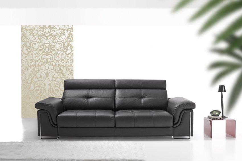 sofá de piel de color oscuro